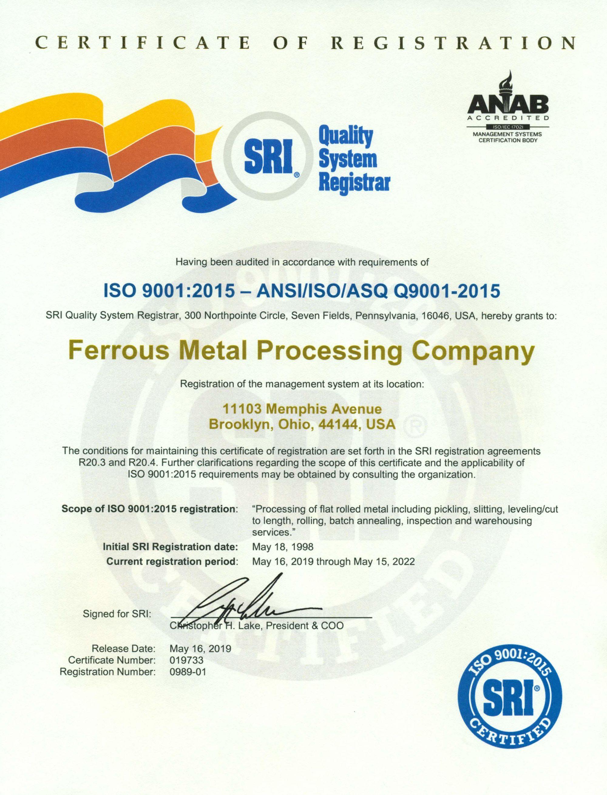 Ferrous ISO 9001-2015 Cert 5-15-22